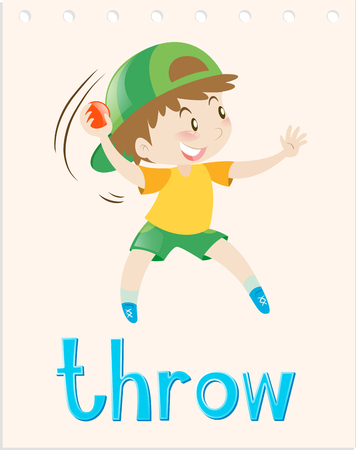throwing: Flashcard with boy throwing ball illustration Illustration