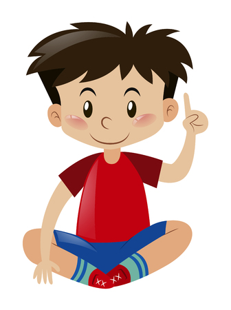 red shirt: Boy in red shirt pointing finger up illustration