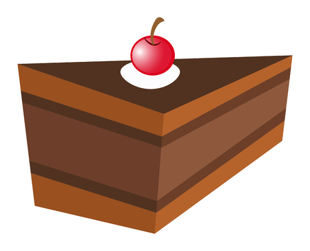 chocolate cake: Chocolate cake with cheery  illustration