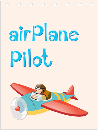 Flashcard with pilot and airplane illustration