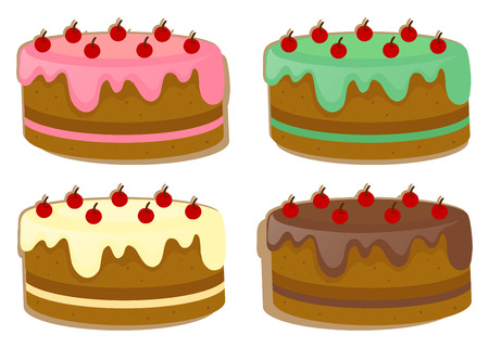 Cake with four different toppings illustration
