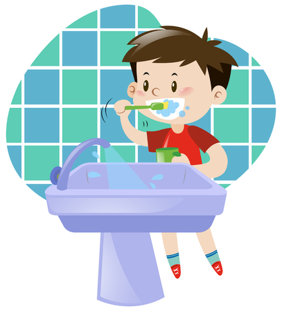 Little boy brushing his teeth illustration Иллюстрация