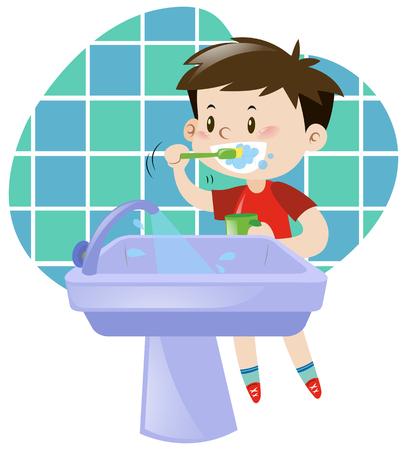 Little boy brushing his teeth illustration Vettoriali