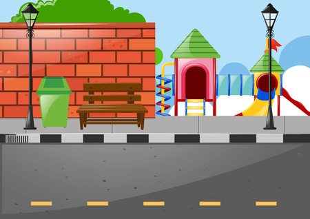Playground on the side of the road illustration