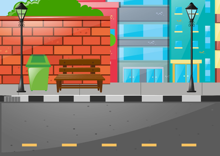 City scene with buildings and road illustration