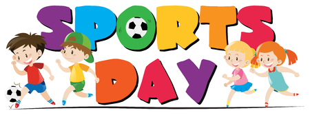 adolescent: Sport day theme with kids playing sports illustration Illustration