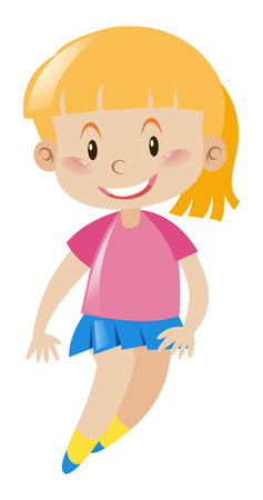 blond hair: Girl with blond hair smiling illustration Illustration