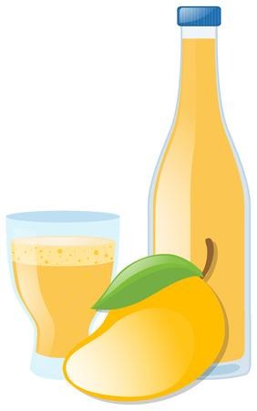 mango juice: Mango juice and fresh mango illustration