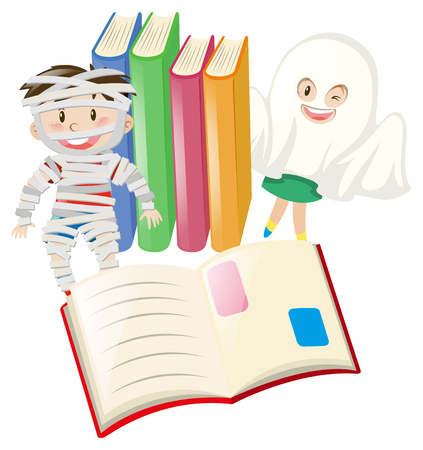 Kids in halloween costume and books illustration