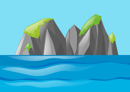 moutain: Nature scene with moutain and ocean illustration