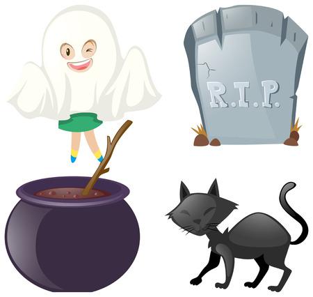 Halloween ha messo con l'illustrazione del gatto nero e del fantasma