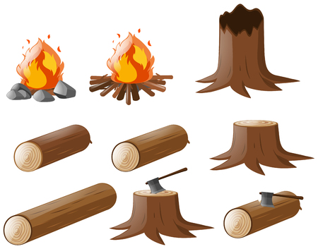 Set of firewoods and campfire illustration