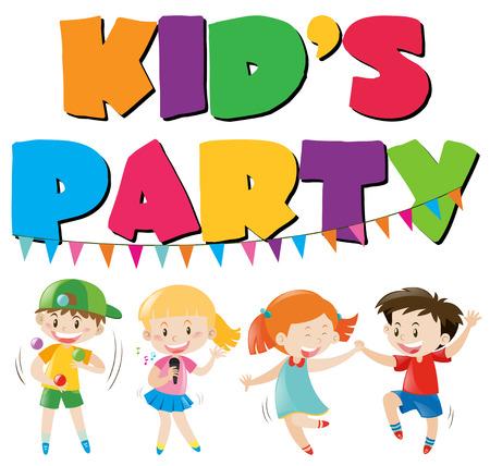 Many kids having fun at party illustration Illustration