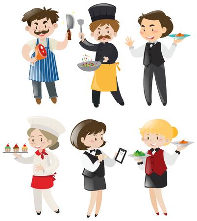 serving people: People doing different jobs in restaurant illustration Illustration