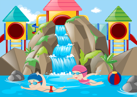 water park: Scene with kids swimming in the water park illustration