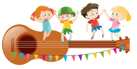 adolescent: Kids dancing on giant guitar illustration