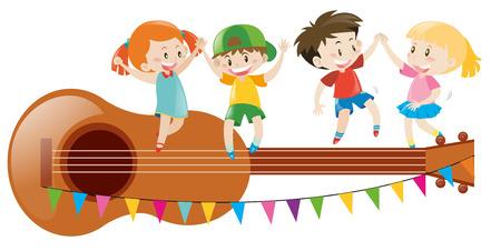 Kids dancing on giant guitar illustration