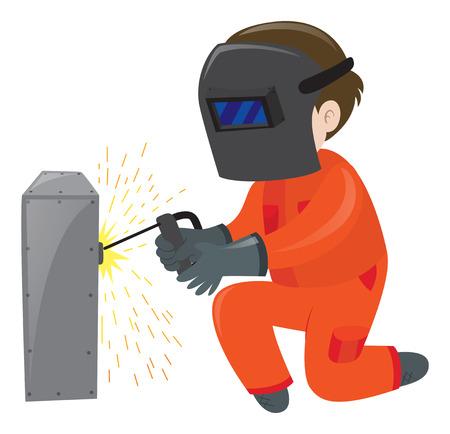 Technician repairing metal box illustration Illustration