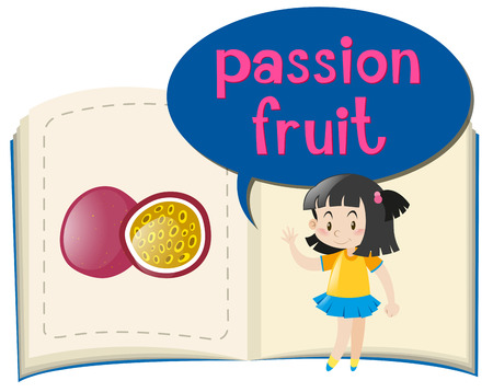passion fruit: Girl and passion fruit in the book illustration Illustration