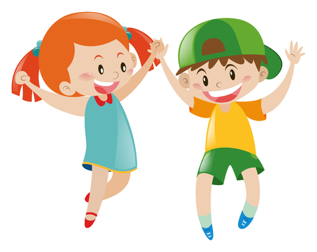 adolescent: Boy and girl with happy face illustration