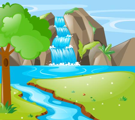Scène met afbeelding van de rivier en waterval