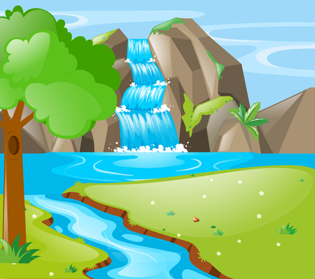 Scene with river and waterfall illustration
