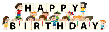 adolescent: Kids and happy birthday sign illustration