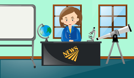 the reporting: Newsreporter reporting news in studio illustration