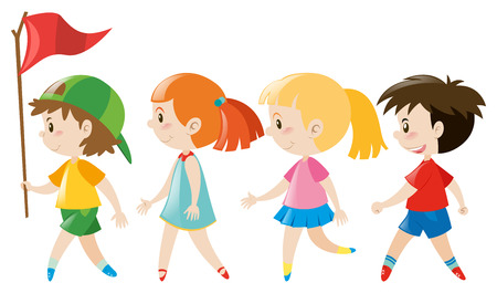 adolescent: Children walking in line illustration Illustration