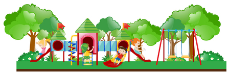 adolescent: Playground scene with kids playing illustration