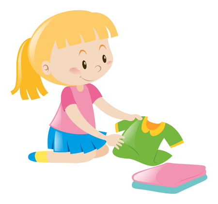 Little girl in pink folding clothes illustration