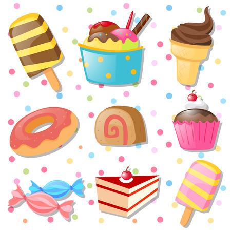 gelato: Different types of desserts illustration