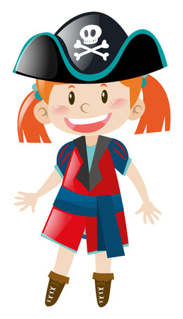 outfit: Little girl in pirate outfit illustration