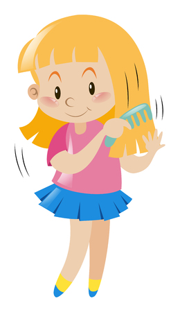 Little girl combing her hair illustration