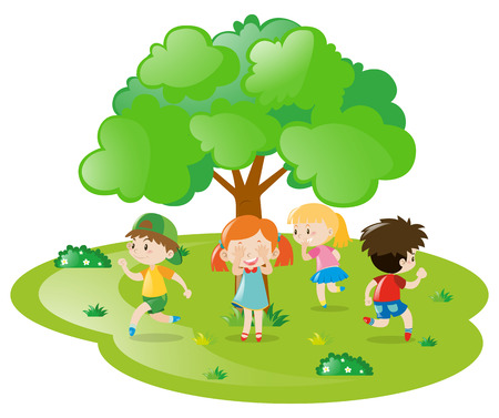 seek: Kids playing hide and seek in the park illustration