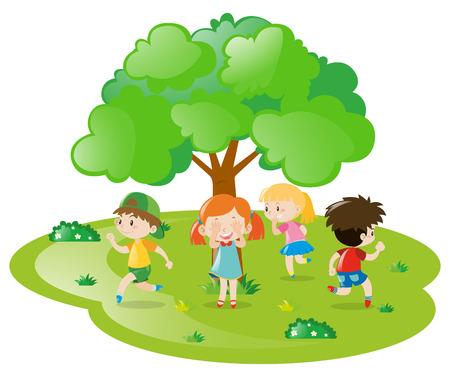 Kinderen spelen verstoppertje in het park illustratie