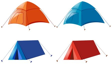 Two designs of camping tent illustration
