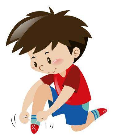 Little boy tiding shoelaces by himself illustration