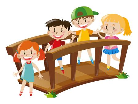 Cuatro niños que cruzan la ilustración puente de madera