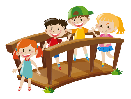 Four kids crossing wooden bridge illustration