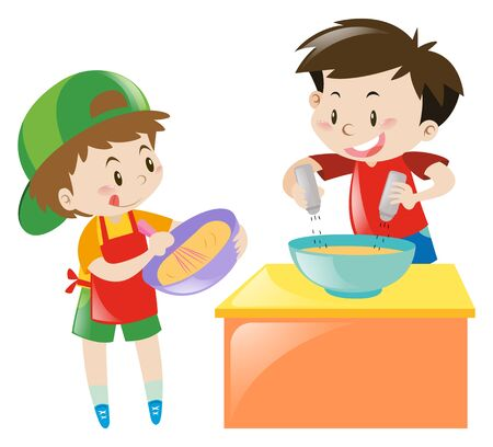 Two boys cooking and baking  illustration
