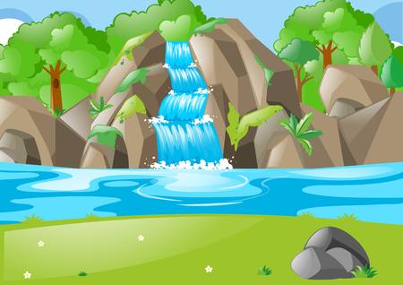 滝とフィールドのイラストと森のシーン