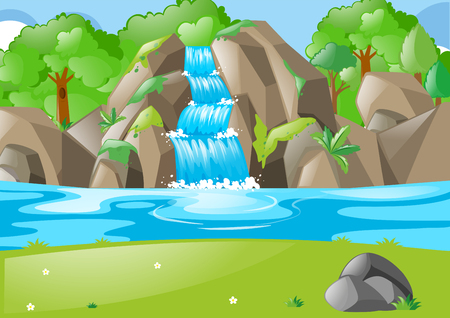 Forest scene with waterfall and field illustration