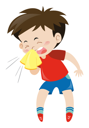 red shirt: Boy in red shirt sneezing illustration Illustration