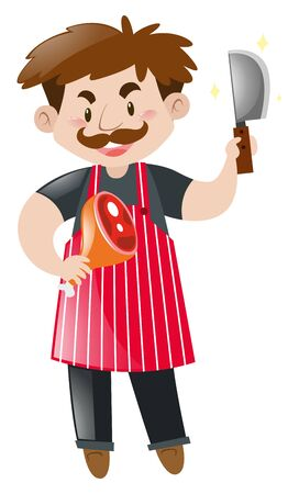 Butcher with chopping knife and meat illustration