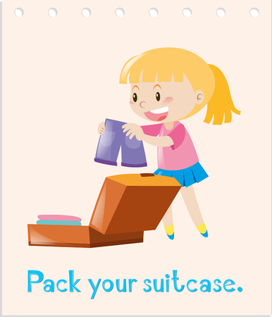 Action wordcard with girl packing bag illustration