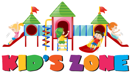 playgroup: Boys and girls on the slides illustration