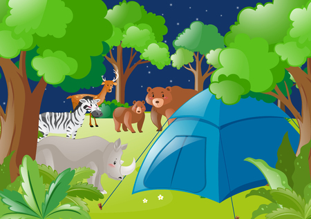 Scene with tent and wild animals in forest illustration