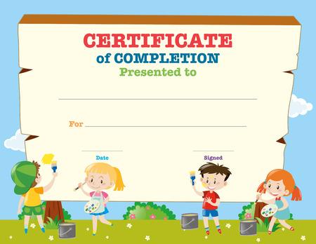 Certificate template with happy children illustration Çizim