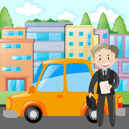 yellow car: Businessman standing by yellow car illustration
